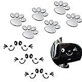 HOSTK 12 stück 3D Silber Chrome Hund Pfote Fußabdruck Auto Aufkleber Lächeln Gesicht Aufkleber Flügeltür Spiegel Selbstklebende schwarz und weiß