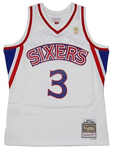 Mitchell & Ness - Maglia da Basket NBA Philadelphia 76ers 2.0#Allen Iverson, da Uomo, Bianco/Rosso, XL