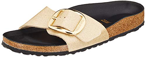 BIRKENSTOCK Damen Mules Madrid Big Buckle Birko-Flor Glitter Gold Hex Black Sandale, 37 EU