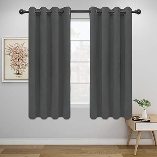 Easy-Going Blackout Curtains for Bedroom, Solid Thermal Insulated Grommet and Noise Reduction Window Drapes, Room Darkening Curtains for Living Room, 2 Panels(52x63 in,Gray)