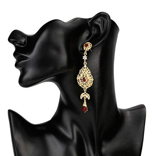 QIN Marruecos Golden Long Drip Pendientes para Las Mujeres Árabe National Wedding Jewelry Regalo de Novia