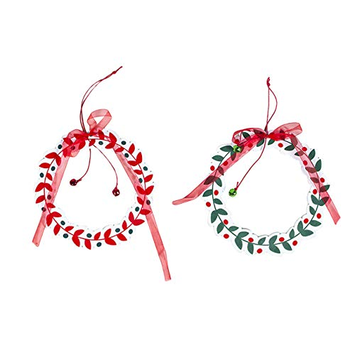 Bigsweety Christmas Wooden Wreaths, Xmas Wreath for Front Door Christmas Holiday Indoor Home Decorations
