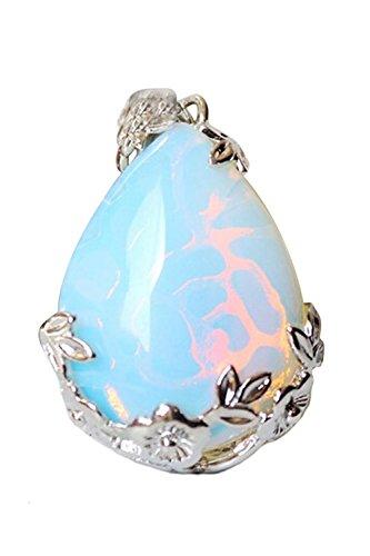 Anhaenger - SODIAL(R)Frauen Angel Traene Wasser Tropfen Halbedelsteine Anhaenger - Opal