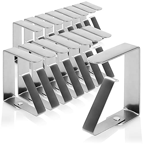 com-four® 16x Pinzas para Mantel Premium - Pinzas para Mesa de Acero Inoxidable - Pinzas para Mantel para Interior y...