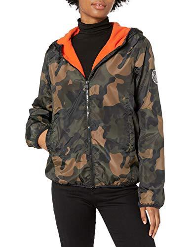Madden Girl Women's Fashion Outerwear Jacket, Neon Olive Camo, L