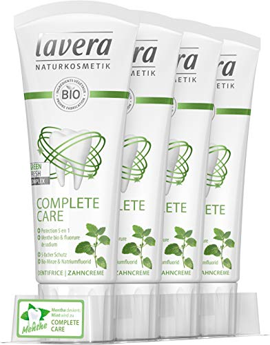 LAVERA Complete Care Dentifrice 5 en 1 Menthe bio & fluorure de sodium Bio sans Dioxyde de Titane - 75 ml - pack de 4