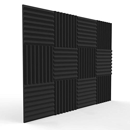 12 Pack Acoustic Panels 1 X 12 X 12 Inches - Acoustic Foam - Studio Foam Wedges - High Density Panels - Soundproof Wedges - Charcoal