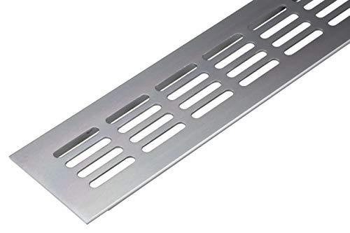 Lüftungsgitter Tür-Gitter silber Abluftgitter Aluminium | Belüftungsgitter eckig | 400 x 60 mm | Möbel-Gitter Alu für Heizung - Wand uvm. | MADE IN GERMANY | 1 Stück - Lüftungsblech Oval zum Lüften