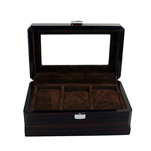 Uhrenbox für 3 Uhren Holz Uhrenkoffer Schwarz Uhrenkasten Uhrenschatulle Klavierlack Schmuckkästchen Unisex Uhren Schmuck Aufbewahrungbox