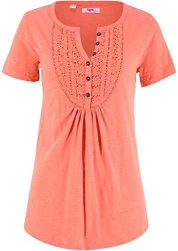 Damen Flammgarn-Shirt mit kurzen Ärmeln, 299441 in Mandarine 40/42