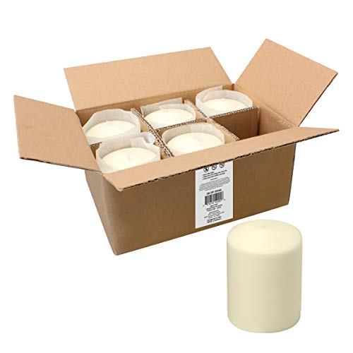 Stonebriar 35 Hour Long Burning Unscented Pillar Candles, 3x4, Ivory