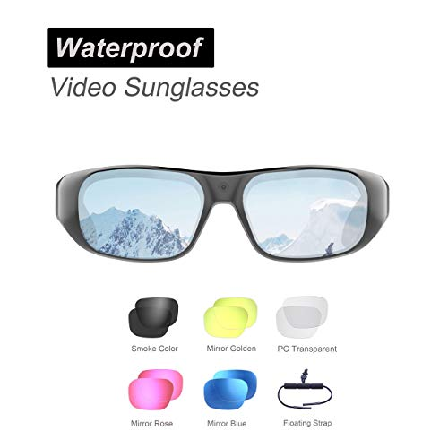 128GB Waterproof Video Sunglasses,Ultra 1080P Full HD Outdoor Sports Action Camera and 6 Sets Polarized UV400 Protection Safety Lenses,Unisex Sport Design