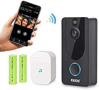 EKEN Smart Wireless WiFi Video Doorbell 1080p Cloud Storage Security Camera with PIR Motion Detection Night Vision Two-Way Talk and Real-time Video (Black)