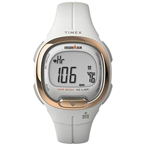 TIMEX Ironman Transit Watch with Activity Tracking & Heart Rate 33mm – White with Resin Strap