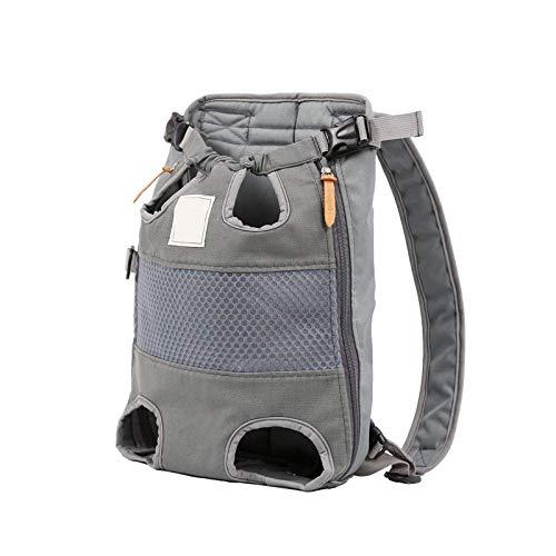 HUI JIN Mochila de transporte de mascotas ajustable para perro, bolsa de viaje frontal, de lona, color gris