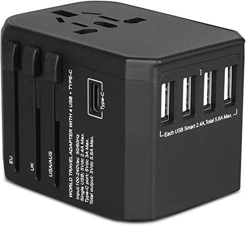 Reiseadapter Reisestecker Weltweit 224+ Ländern 5.6A Fast Charge Universal Travel Adapter mit 4 USB Ports+Typ C und AC Steckdosenadapter Internationale Reiseadapter für USA Europa UK Australien Usw