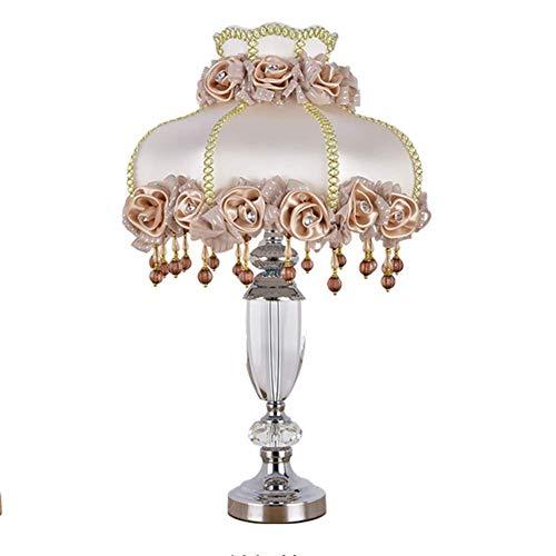 Lámpara de mesa de cristal creativa europea Lámpara de cabecera de dormitorio Tela de sala de estar americana Decoración de hotel rosa Bombilla LED de 17 pulgadas Lámpara de cabecera (Color: Rosa)