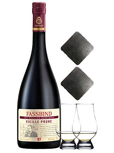 Fassbind Vieille Prune Gereifter Pflaumenbrand Schweiz 0,7 Liter + 2 Glencairn Gläser + 2 Schieferuntersetzer quadratisch ca. 9,5 cm