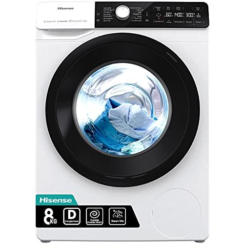 Hisense WFGA80141VMQ Waschmaschine mit Dampf/ Inverter Motor/ Totaler Aqua Stop/ 8kg/ Automatikprogramm/