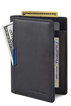 SERMAN BRANDS - Wallets for Men Slim Mens leather RFID Blocking Minimalist Card Front Pocket Bifold Travel Thin  Charcoal Black 5.0