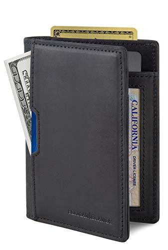 SERMAN BRANDS - Wallets for Men Slim Mens leather RFID Blocking Minimalist Card Front Pocket Bifold Travel Thin (Charcoal Black 5.0)
