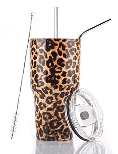 DYNAMIC SE 30oz Leopard Tumbler Double Wall Stainless Steel Vacuum Insulated Travel Mug with Splash-Proof Lid Metal Straw and Brush