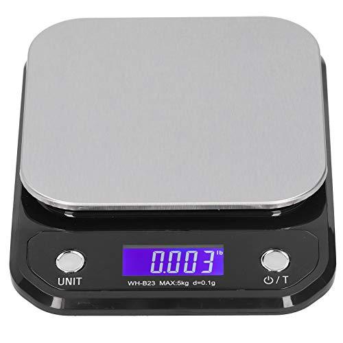 Báscula de alimentos, exquisita báscula electrónica de alta precisión, pantalla LCD digital de 16 x 21 x 3 cm para el hogar Herramienta de medición de peso de alimentos(5kg/0.1g)