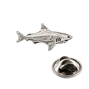 Creative Pewter Designs Shark Lapel Pin – Pewter – Highly Detailed Artisan Brooch – Made in USA