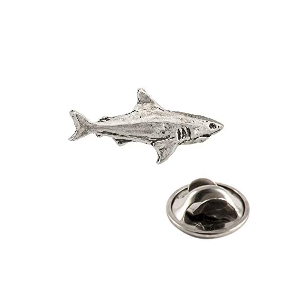 Creative Pewter Designs Shark Lapel Pin - Pewter - Highly Detailed Artisan Brooch - Made in USA 3