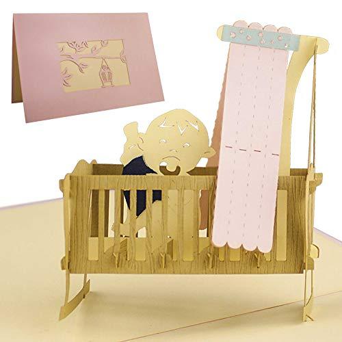 G09.3 Tarjeta de felicitación para nacimiento niña con diseño en 3D desplecable alta calidad hecho a mano, cuna lazo rosa