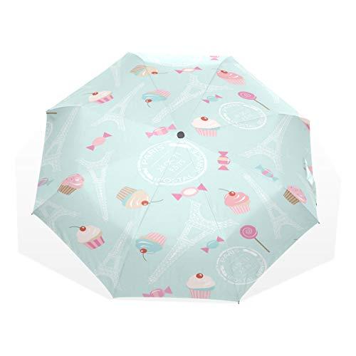 Regenschirm-Süßigkeits-Kuchen-nahtloser Muster-Hintergrund mit Eiffel 3 faltet leichtes Anti-UV