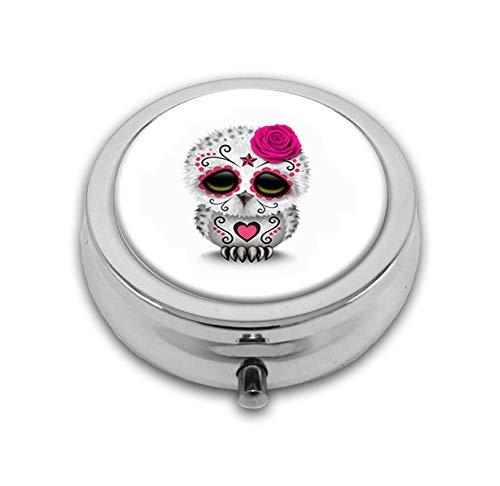 Pill Box,Cute Pink Day of the Dead Sugar Skull Owl White Pill Case for Purse Pocket Pill Organizer with 3 Compartments Silver 2.1 Inches Portable Vitamin Medicine Case Holder