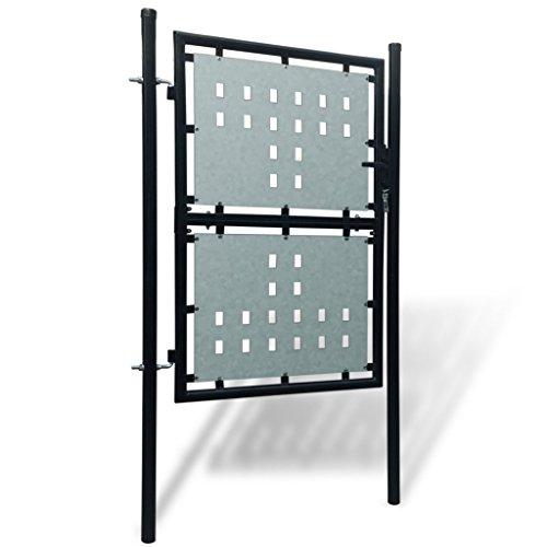 Festnight Verjas abatibles Puerta de Jardín de Hierro 100 x 225 cm, Color Negro