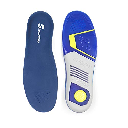 Gel Insole with Arch Support for Plantar Fasciitis Shock Absorbing Insert Foot Pain Relief Orthotic Insert Men's(6-8.5) Women's(7-9.5)