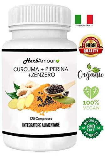 HerbAmour Curcuma+Piperina+Zenzero | 120 cpr. Naturali Di Puro Estratto Di Curcumina (320 Mgr), Piperina (20 Mgr) Al 95% Di Concentrazione, Zenzero R.ma | Antinfiammatorio-Antidolorifico-Antiossidante