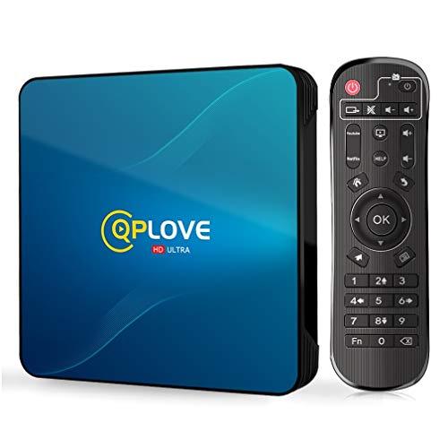 Android TV Box, QPLOVE Q8 Android 10.0 TV Box 4GB RAM 128GB ROM RK3318 Quad-Core 64bit Dual WiFi 2.4 5GHz BT4.0 USB3.0 H.265 3D 4K Smart TV Box