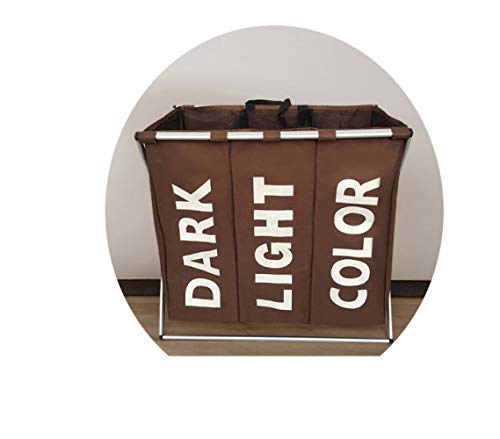 QNN Caja de Ropa Plegable Cesta de Ropa de Tela Oxford Cesta de Ropa Sucia Cesta de Acabado de Tela Grande Cu/Café