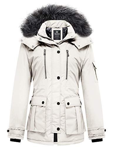 Wantdo Abrigo de invierno acolchado para mujer con capucha extraíble - blanco - XXL