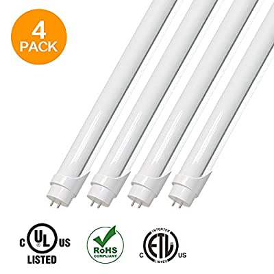 EVE T8 T10 T12 LED Light Tube 4ft 15w (32W equivalent),1950 Lumens 5000K Daylight White, Dual-End Powered, Frosted Cover,Fluorescent Light Bulbs Replacement, with or without ballast internal driver