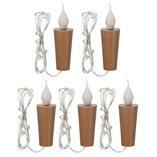 Zavddy Kerzenlicht Kupferdraht LED-Kerze-Lampen-Ausgangshochzeitsdekoration 5PCS Flicker Flasche Teelichter Kerzenhalter (Farbe : Braun, Size : 5pcs)