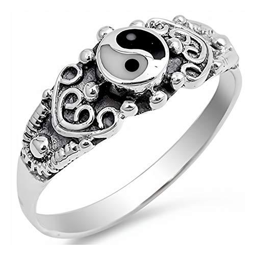 Gemlings Sterling Silber Ring mit Stein   Schmuckgeschenk [Yin Yang]