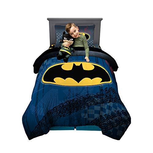 Franco Kids Bedding Super Soft Comforter with Sheets and Plush Cuddle Pillow Set, 5 Piece Twin Size, DC Batman