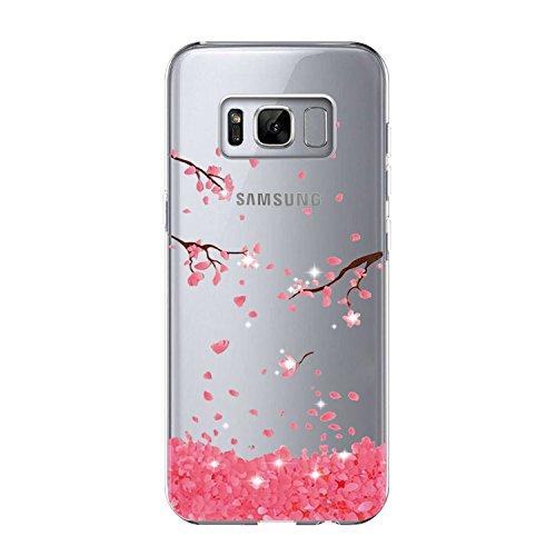 Vanki Samsung Galaxy S8 Plus Case Custodia Morbida di TPU Cristallo Trasparente Sottileb Bordo Proteggi Copertura Completa Galaxy S8 (Fiori di Ciliegio) (Samsung Galaxy S8 Plus, 3)