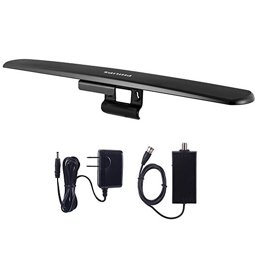 Philips Accessories Amplified HD TV Antenna, Easy Mount for Top of TV, Indoor, Long Range, Full 1080P 4K Ultra HDTV VHF UHF, Included Signal Booster Amplifier, SDV7219N/27