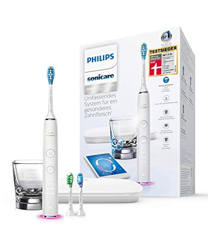 Philips Sonicare DiamondClean Smart Elektrische Zahnbürste mit Schalltechnologie HX9903/03, Ladeglas, Reiseetui, weiß