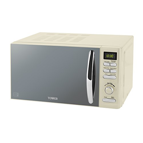 Tower T24019C Infinity Digital Solo Microwave with 6 Power Levels, 8 Auto Cook Options, 60 Minute Timer, Defrost Function, Stylish Mirrored Door, 800 W, 20 liters, Cream