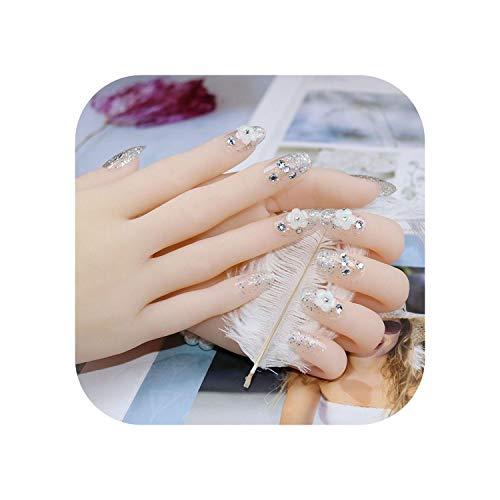 Nail Factory 24 PCS long Faux Ongles De Mariage Nail décoration Brillant Strass Glitter Fleur Appuyez Sur Faux Ongles conseils-As show-