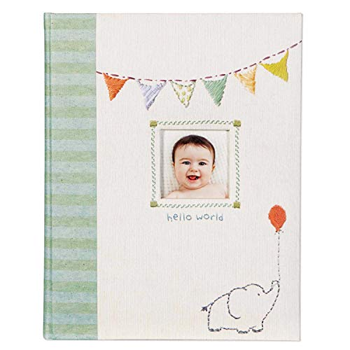 C.R. Gibson B2-12683 Elephant 'Hello World' First Five Years Unisex Memory Baby Book, 64pgs, 10'' W x 11.75'' H