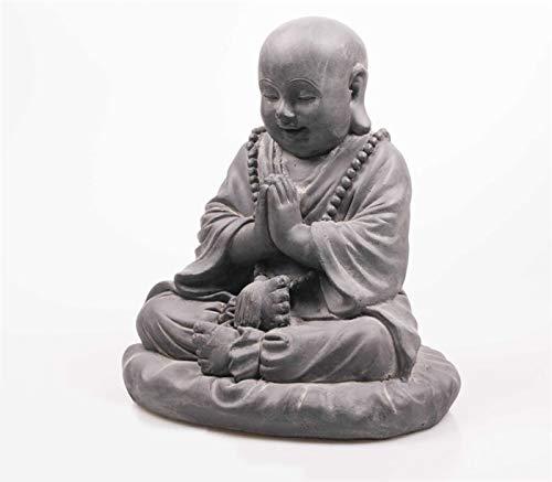 Imhof Stevens Statuette décorative de jardin en forme de moine - Bouddha épais - 35 cm - Gris pierre