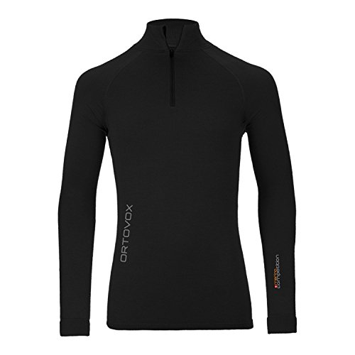 ORTOVOX T-Shirt de compétition à Manches Longues et Fermeture Éclair Laine mérinos pour Homme S Noir - Black Raven